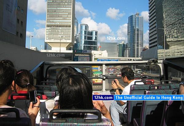 open-top bus ride to Peak Tram station