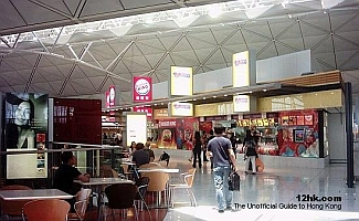 food court in the restricted area of the Hong Kong International Airport